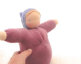 Waldorf doll // ecofriendly toy // natural fiber baby // cloth doll // bunting baby // waldorf toy // cuddle doll  // soft doll //  BDR1