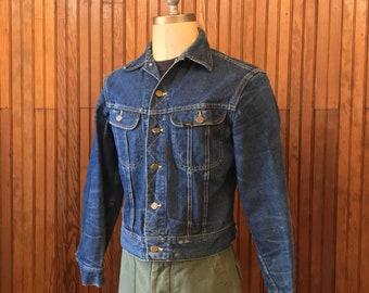 60s Lee Riders 101-J Medium 40 Sanforized Denim Jean Jacket Men's Vintage Trucker Union Made In USA