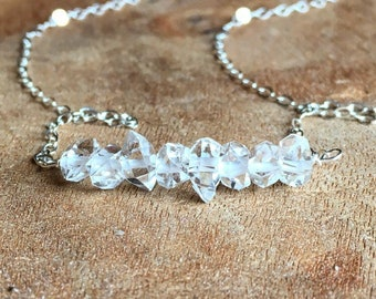 April Birthstone Necklace - Raw Crystal Necklace - Herkimer Diamond Bar Necklace - April Birthstone - Birthstone Jewelry - Crystal Necklace