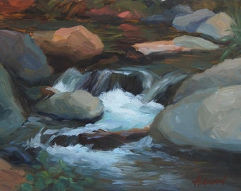 "Plein Air, Sedona, Arizona, Southwest, Oak Creek, Original Oil Painting, Waterfall, ""Bottom of the Canyon"", 9""x12"", by Sherri Aldawood"