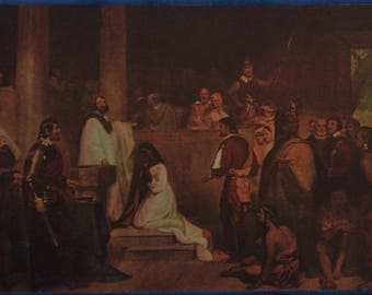 Art Baptism Pocohontas Chapman Rotunda US Capitol Washington DC Antique Postcard