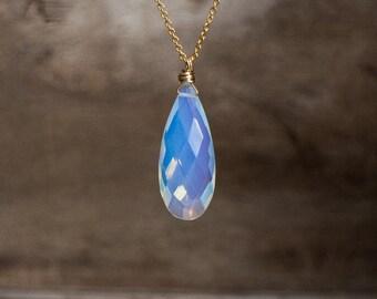 Ice Quartz Necklace, Gemstone Pendant, Gold Necklace, Gift for Her, Gift for Friend, Gift for Women,  October Birthstone, Tear Drop Pendant