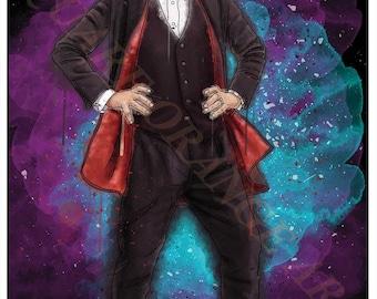 Twelfth Doctor Peter Capaldi 12th Dr Who Inspired Splash Style A4 Original Art Print