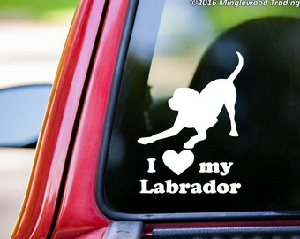 "I Love My Labrador vinyl decal sticker 6"" x 4.5"" Dog Chocolate Yellow Black Lab - playful *Free Shipping*"