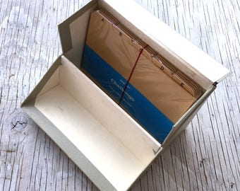 Vintage Large Desk Index card with unopened pack of alphabetical dividers and ruled cards in buff colour, 8 x 5 inches.