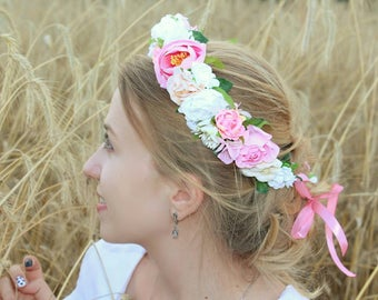First birthday gift girl flower crown pink pink and white floral headband flower headband toddler newborn photo prop hir accessories pink