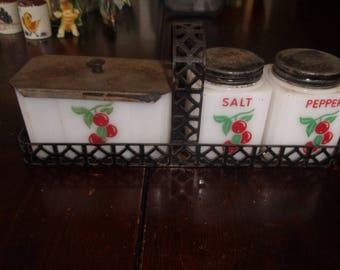 vintage tipp city milk glass salt pepper shakers drippings grease jar stovetop set with holder cherries