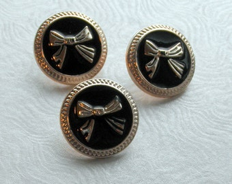 3 Black and Gold Bow Shank Buttons