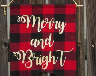 Merry and Bright Christmas Fabric Wall Banner, Fabric Pennant, Fabric Banner, Pennant Flag, Wall Flag, Fabric Flag, Fabric Banner