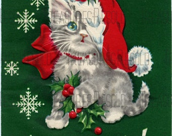 Retro Santa Kitty Cat Christmas Card #302 Digital Download