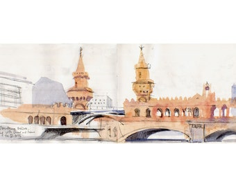 Berlin watercolour sketch of Oberbaumbruecke PRINT, watercolor drawing of Spree bridge, urban sketch by Catalina.