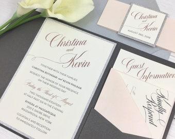 Gray and Blush Wedding Invitations, Shimmer Charcoal, Blush and Silver Glitter Pocket Invitations, Blush and Silver Wedding Invitations
