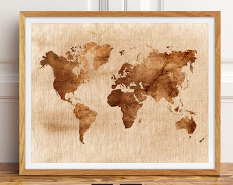 Rustic world map etsy vintage world map poster print large rustic wall decor farmhouse wall art printable world map download digital map of the world map art gumiabroncs Choice Image