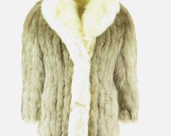Vintage 80s Blue Shadow Fox Fur Coat Womens 10 Jacket Luxury Norwegian Fur [H07C_2-10_Fur]