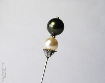 Swarovski Pearl Stick Pin, Green and Cream, 3 Inch Pin, Hat Pin, Scarf Pin, Hijab Pin, Lapel Pin, Wedding, Boutonniere, Corsage, H0235