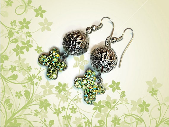 Green Rhinestone butterfly charm dangling earrings