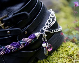 2 purple beaded bangles set