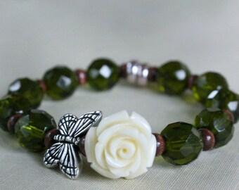 Butterfly Beaded Bracelet, Stretch, Wood, Glass, Flower Bracelet, Gift For Her, Gift For Girlfriend, Modern, Silver, Boho, Hippie Chic