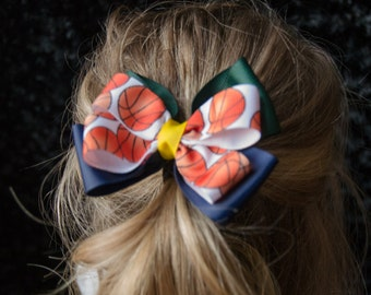 Hair Bow - Jazzy Blue, Green, and Gold Basketball Game Day Bows, Girls Hair Bow