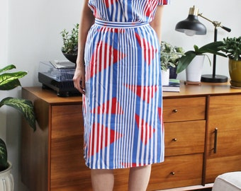 Red White & Blue Geometric 80s Two Piece Skirt Set