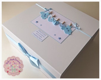 Extra Large Personalised Baby Keepsake Box (Mini clothes line) Pink, Blue or Cream