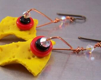 Yellow Polymer Clay Shard Earrings