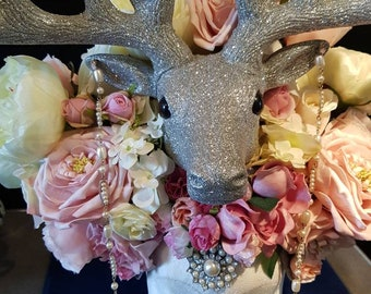 Headdress, headpiece, stag, woodland, fairy, ethereal, floral, pearl, silver