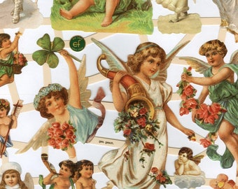 Holdiay Angels Reproduction Chromolithograph Embossed Die-Cut Scrap Reliefs (Scraps)