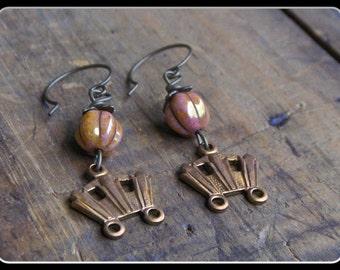 Magic pumpkins Earrings. Mini Orange Fluted Czech Glass and Stagecoach Handmade gothic victorian story fairytale earrings