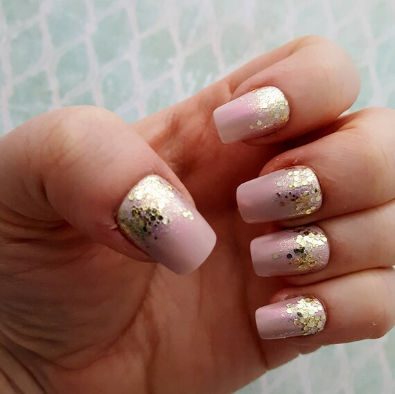 Gold Glitter Nails Pink and Gold Nails Glitter Gradient