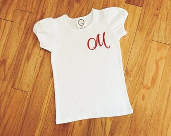 Girl's Monogrammed Top, Personalized Initial Shirt, Embroidered Tee, Toddler Shirt, Children's T-Shirt, Baby Girl Outfit, Birthday Gift