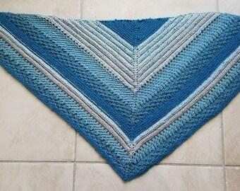 Hand Knit Shawl in Cozy Washable Acrylic Yarn