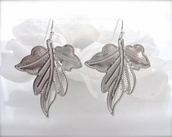 Silver Leaf Earrings, Maple Leaf Earrings, Dangle Earrings, Nature Leaf Earrings, Woodland Jewelry, Christmas Gift, Lightweight Gift for Her