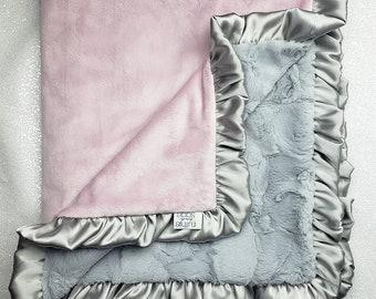 READY TO SHIP Minky blanket, baby girl blanket, baby gift, Floral blanket, Rosewater Minky, pink and grey, Elegant Blanket, ruffle blanket