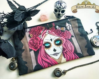 Day of the Dead - Steampunk Roses Skull Clutch bag Purse Wristlet - Cosmetic pencil school - Bianca Loran Art