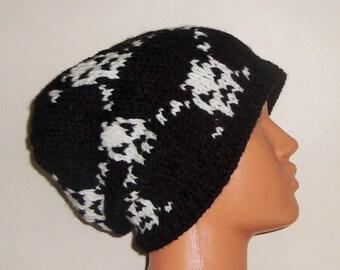 Hand Knit Skull Hat, Knit Skull Beanie, Skull Lovers, Skull Gifts for Women for Men Hat Black White