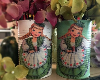 St. Patrick's Day Decorations Green or White Tin Can Vases Shabby Chic Irish Lass Girl Saint Paddys Party Home Decor Sweet Vintage Designs