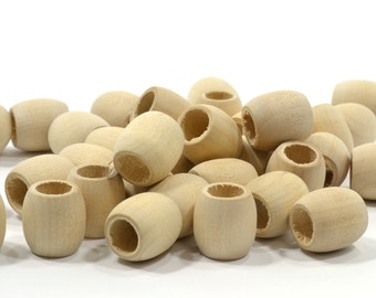 """Choice of 30 - 150 5/8"""" (16mm) Barrel Beads-Wooden Unfinished Premium Quality-Natural Hardwood Quality Beads-Jewelry Supplies-BEAD110"""