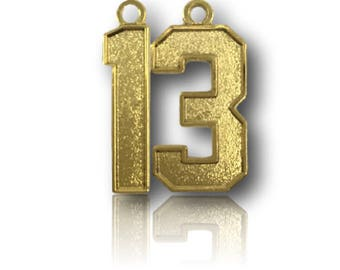 """Number 13 Jersey Style Sports Necklace Charm Pendant (0.8"""" Tall)  GOLD PLATED Football Baseball Basketball Soccer Lacrosse Hockey"""