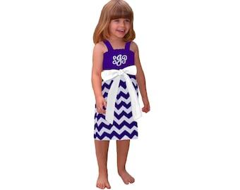 Purple + White Chevron Dress- Girls