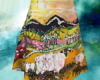 Sheep on a Sunny Summer Day Batik Flare Skirt