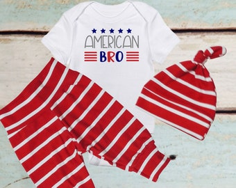 Newborn photo prop, baby boy, baby hat, Patriotic Baby Boy Clothes, American Baby Bodysuit, Coming home outfit, red white blue, 4th of July