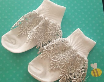 White lace socks with silver lace