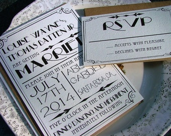 Great Gatsby wedding invitation set, Art Deco Invitations -  Best Selling items