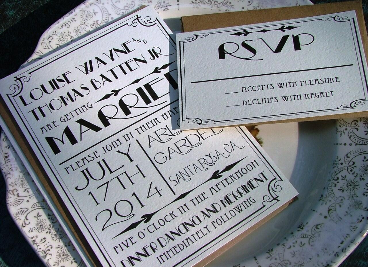 Great Gatsby wedding invitation set Art Deco Invitations
