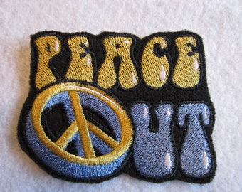 Embroidered Peace Out Iron On Patch, Retro Patch, Iron On Patch 60's, Iron On Applique, Peace Patch