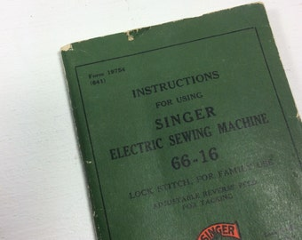 Singer Sewing Machine original manual for 66-16 1930's form 19754