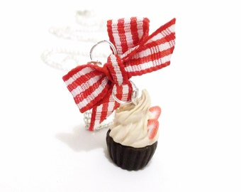 Food Necklace Cupcake Necklace ( food jewelry miniature food polymer clay food miniature cupcake strawberry cupcake kawaii jewelry )