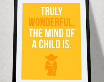 Truly Wonderful, the Mind of a Child Is - Yoda, Nursery Digital Printable, Baby Geek, Star Wars Nursery