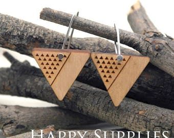 2pcs / 1 Pairs (HEW26) Laser Cut Wooden Dangle Earrings - HEW Series